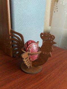Laser Cut Easter Chicken Egg Holder Hen Rooster Egg Stand Free Vector