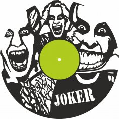 Laser Cut Joker Vinyl Record Wall Clock Template Free Vector