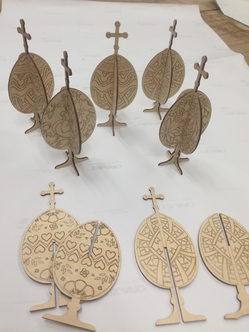 Laser Cut Engraved Cross Easter Eggs Plywood Template Free Vector