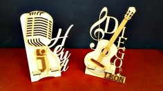Music Icons Microphone Guitar With Stand Laser Cutting Template Free Vector