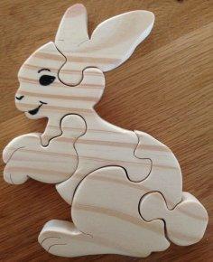 Rabbit Jigsaw Puzzle for Kids CNC Laser Plans DWG File