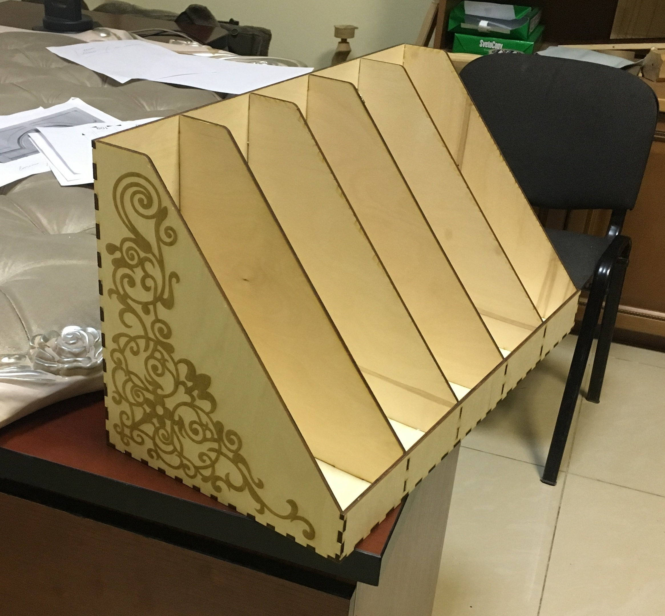 Laser Cut Office Papers Tray Plywood 4mm DXF File