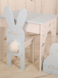 Laser Cut Rabbit Chair Bunny Chair Nursery Furniture for Kids Free Vector