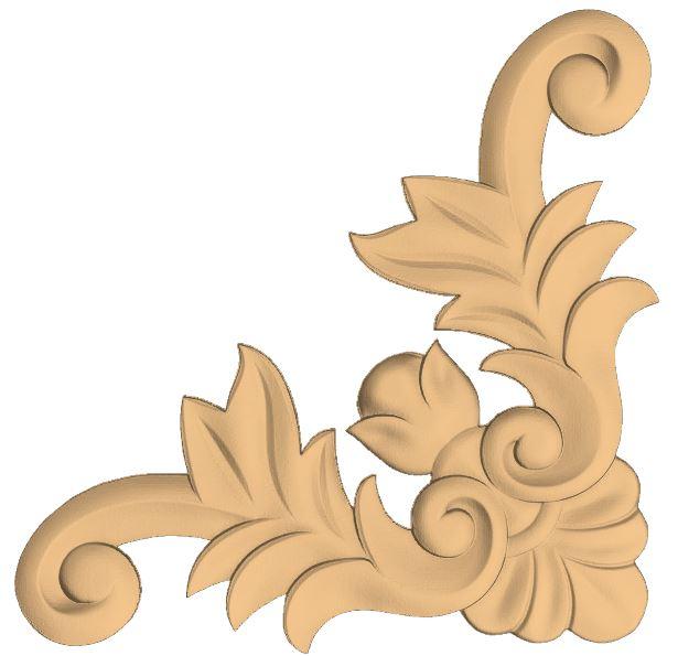 Decorative Corner Flower 3D Stl Model For CNC Stl File