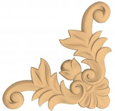 Decorative Corner Flower 3D Stl Model For CNC Stl File