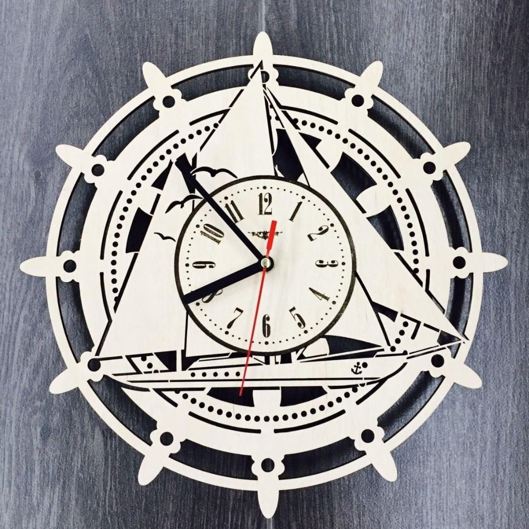 Laser Cut Sailing Ship Wall Clock Free Vector