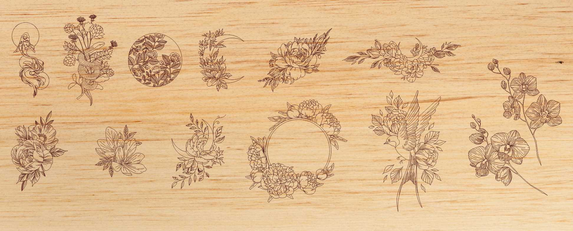 Laser Engraving Flowers Templates Free Vector
