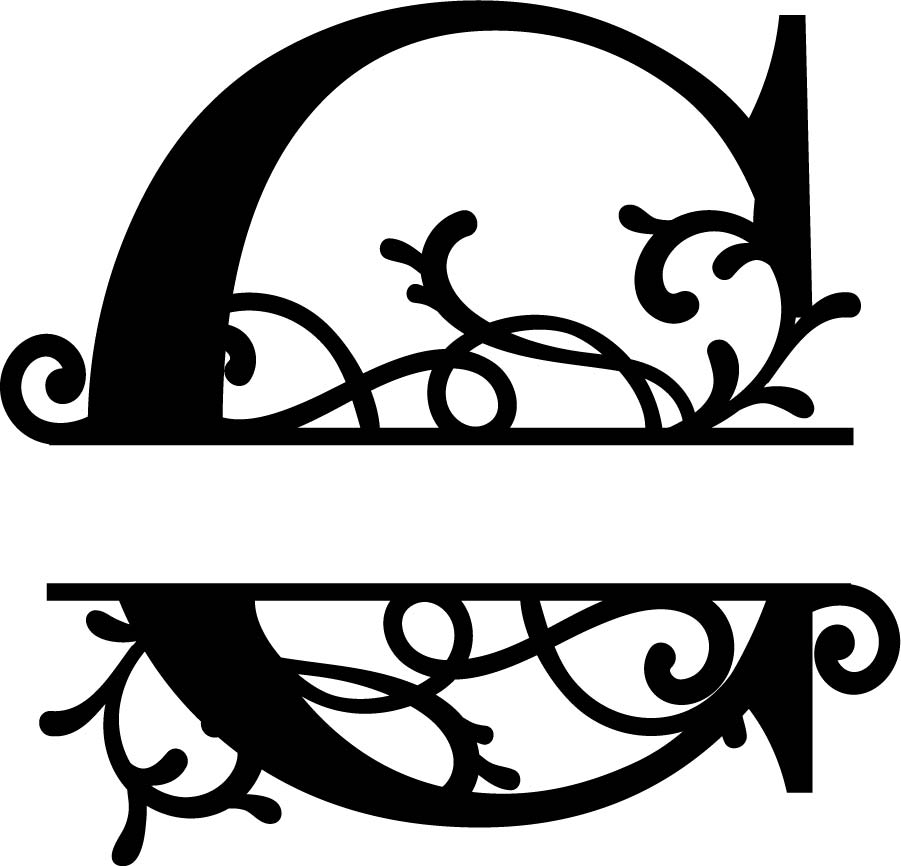 Flourished Split Monogram C Letter Free Vector