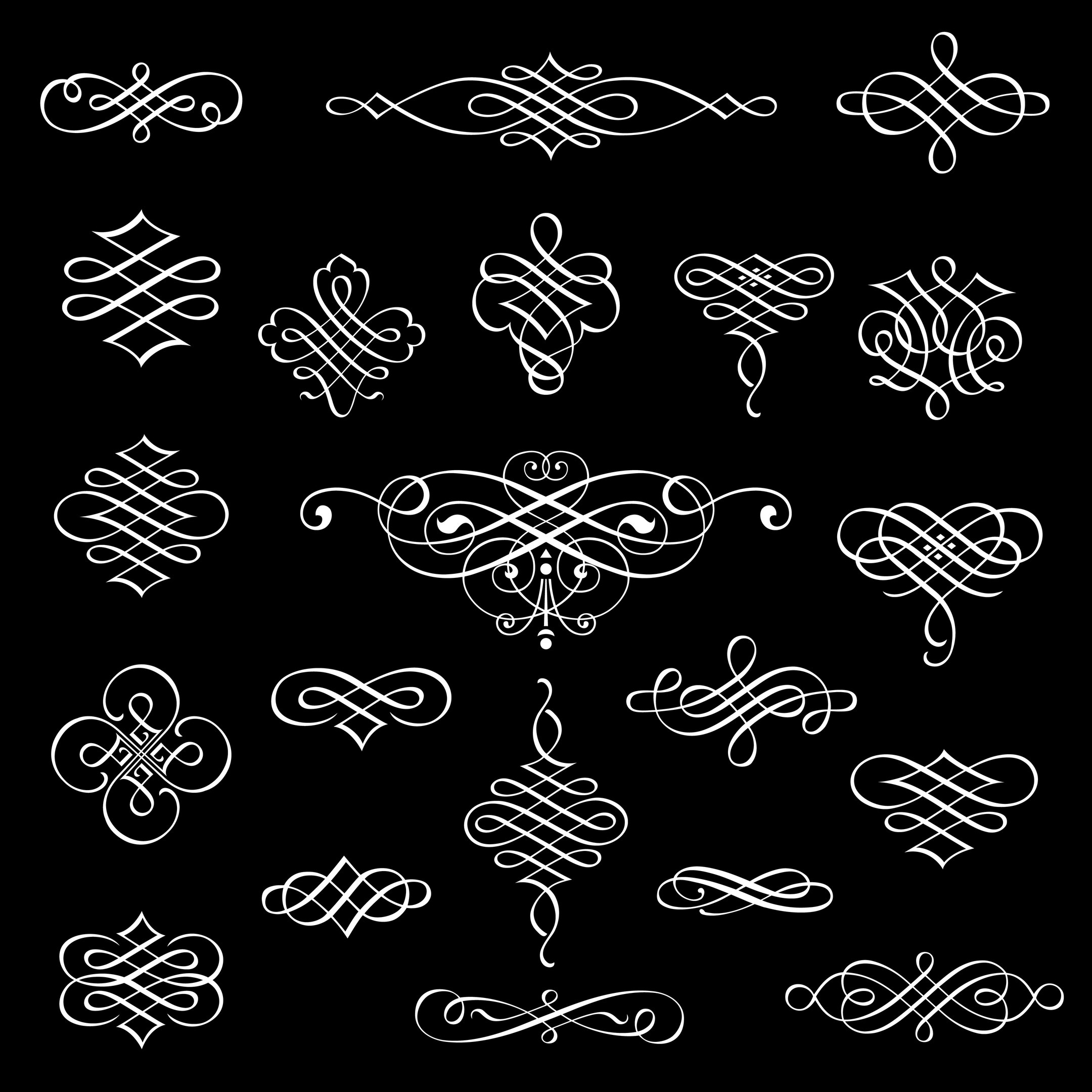 Vector Calligraphic Design Elements Isolated On Black Background Free Vector