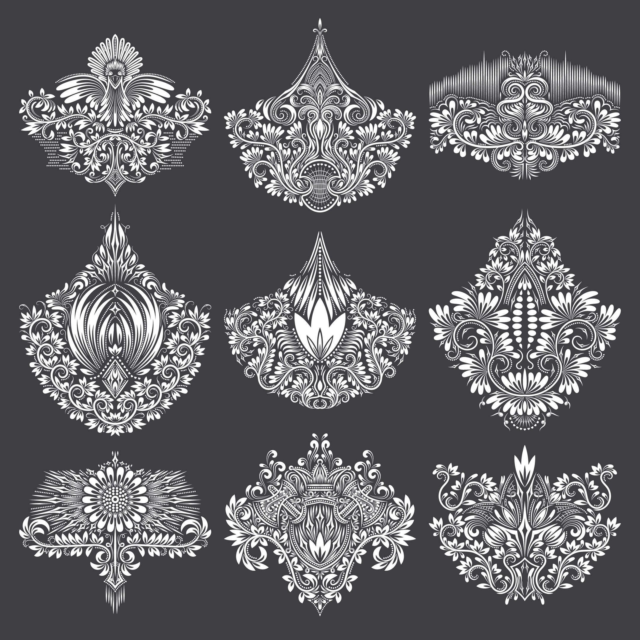 Gorgeous Ornamental Elements Free Vector