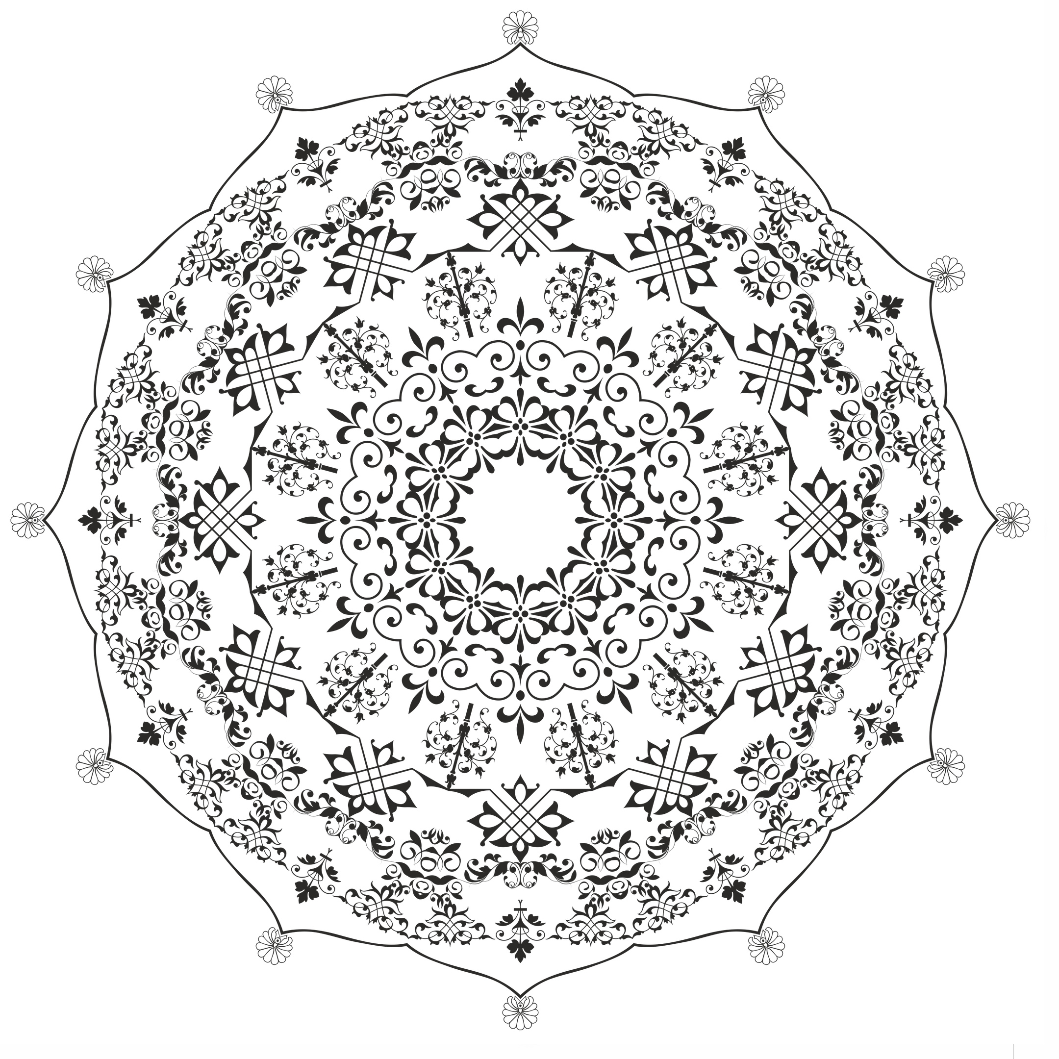 Mandala Round Ornament Design Free Vector
