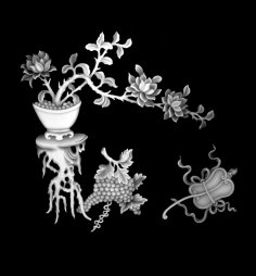 Vase with Flowers Grapes Grayscale Image BMP File