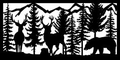 30 X 60 Two Bucks Bear Mountains Plasma Metal Art DXF File