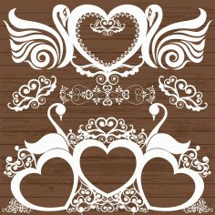 Laser Cut Engrave Swans Decor With Hearts Free Vector