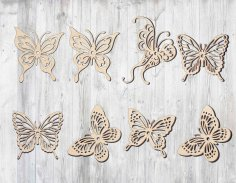 Laser Cut Wooden Butterfly Cut Outs Free Vector