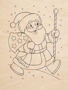 Laser Engraving Santa Claus Free Vector