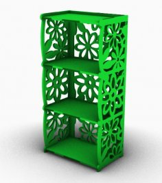 Laser Cut 4-Shelf Bookcase Free Vector