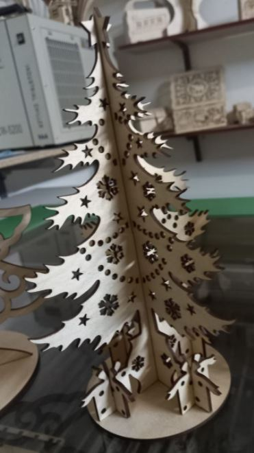 Laser Cut Christmas Tree Height 500mm Plywood 6mm Free Vector