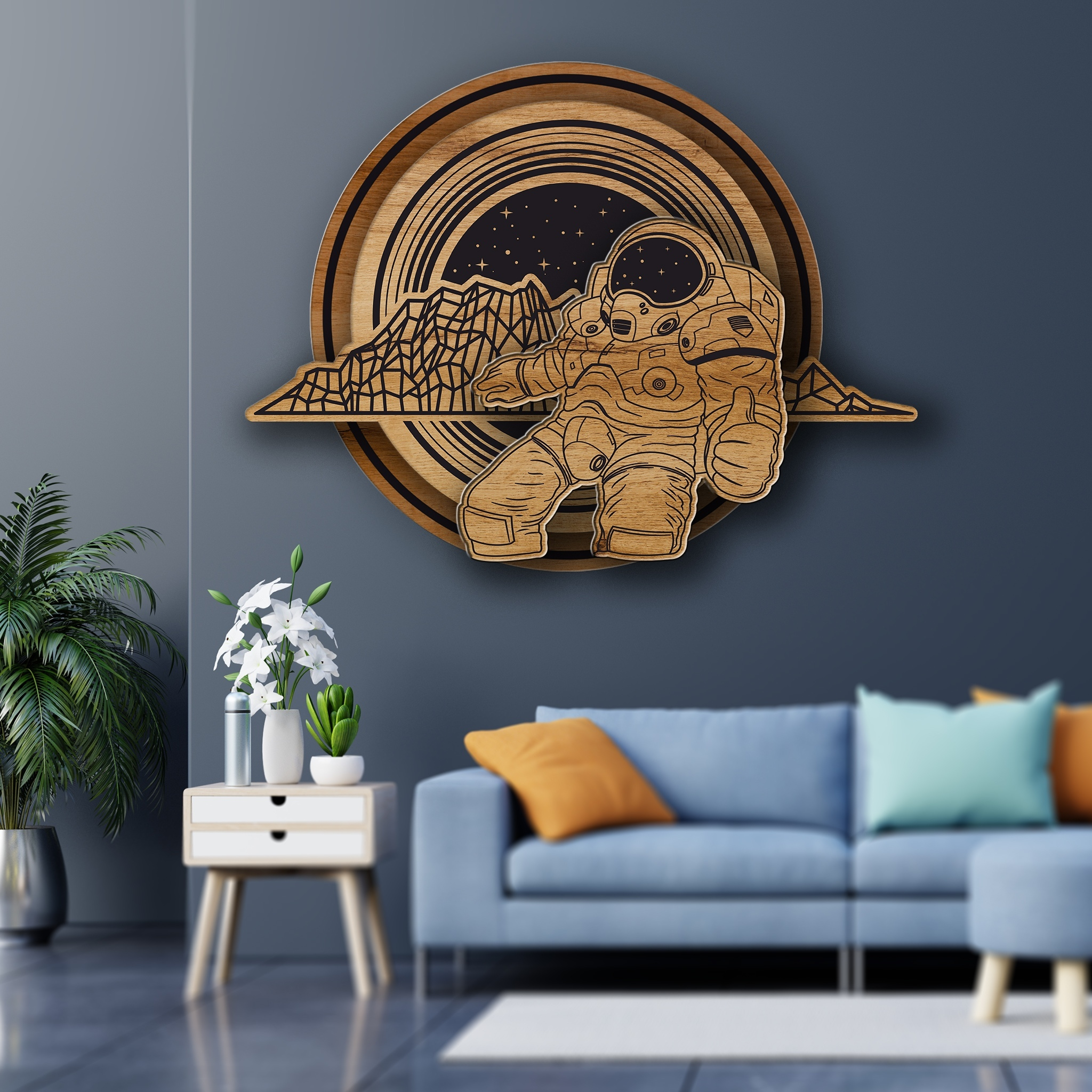 Laser Cut Engraved Space Wall Art Cosmos Theme Wall Decor Man In Space Art Free Vector