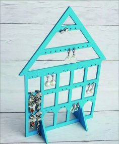 Laser Cut Wood Earring Stand Earring Holder Jewelry Display Stand Free Vector