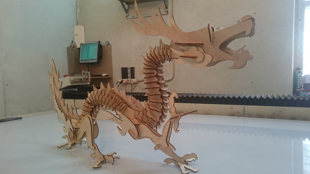 Laser Cut Chinese Dragon Free Vector