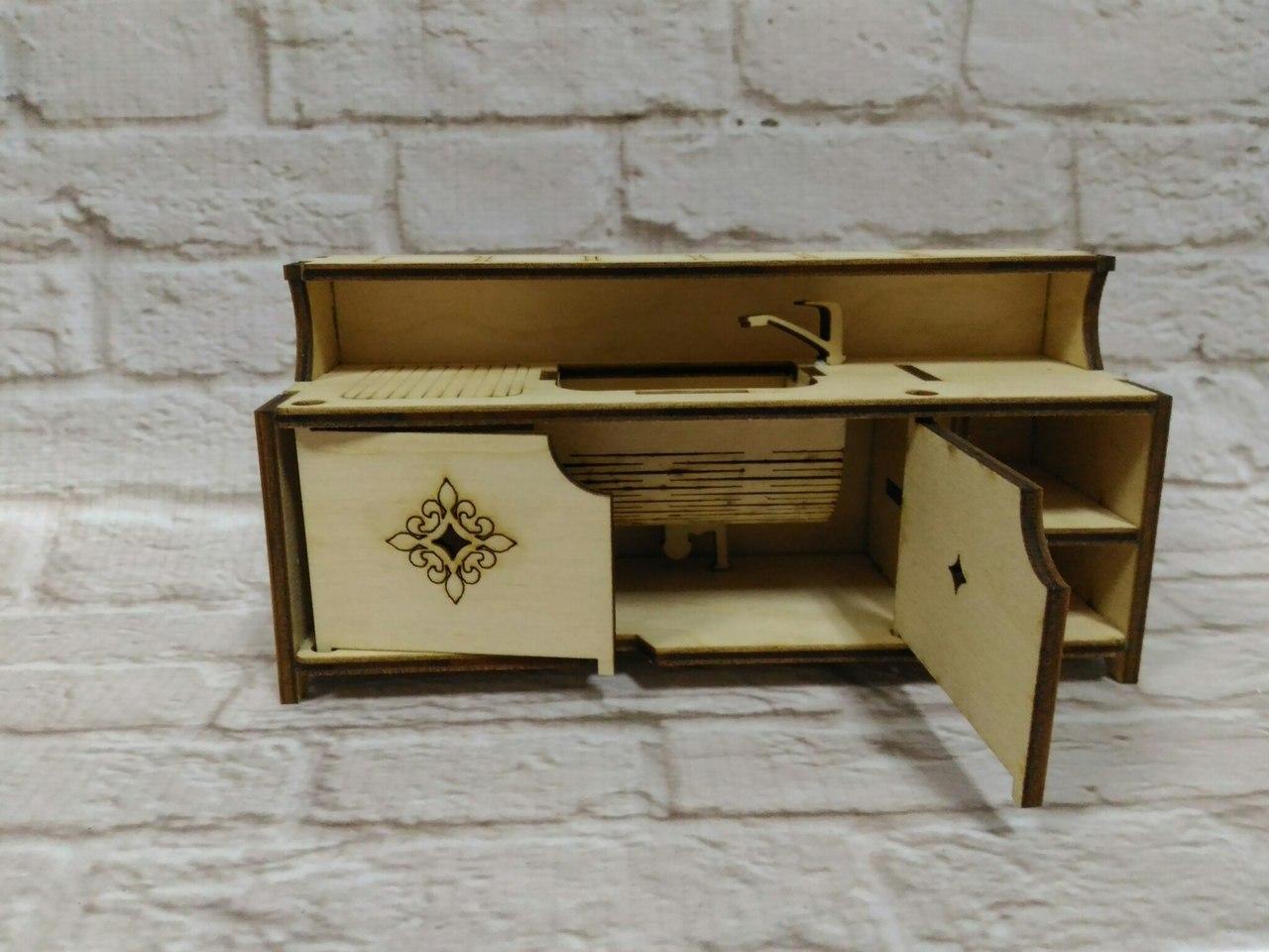 Laser Cut Miniature Dollhouse Furniture Dollhouse Kitchen 3mm Free Vector