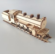Laser Cut Toy Locomotive Train Engine Passenger Car Goods Wagon & Track Free Vector