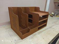 Laser Cut Wooden Office Organizer Paper File Holder Free Vector