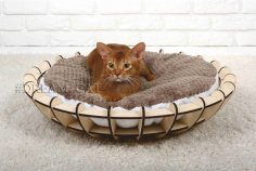 Laser Cut Wooden Cat Bed Cat Furniture Pet Furniture Free Vector