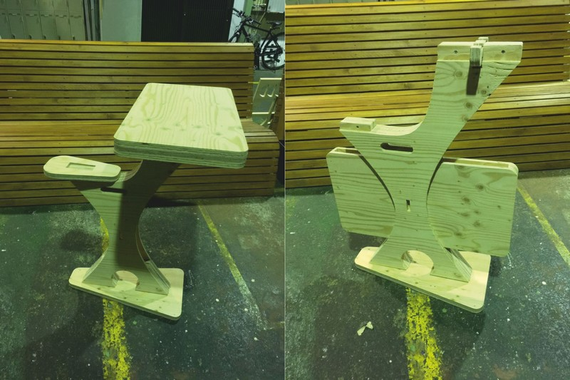 Children Wooden Desk With Attached Bench Seat Laser Cut Free Vector