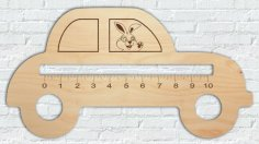 Laser Cut Wooden Ruler Car Shape Free Vector