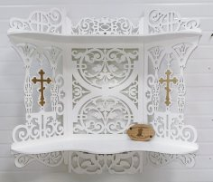 Laser Cut Iconostasis Corner Shelf for Icons Free Vector