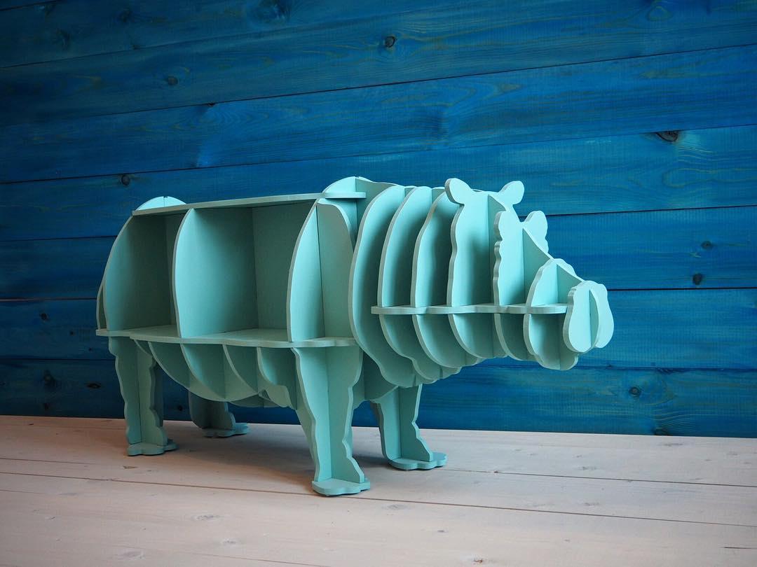 Laser Cut Hippo Storage Book Shelf Free Vector