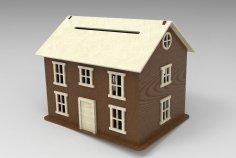 Laser Cut House Piggy Bank DXF File