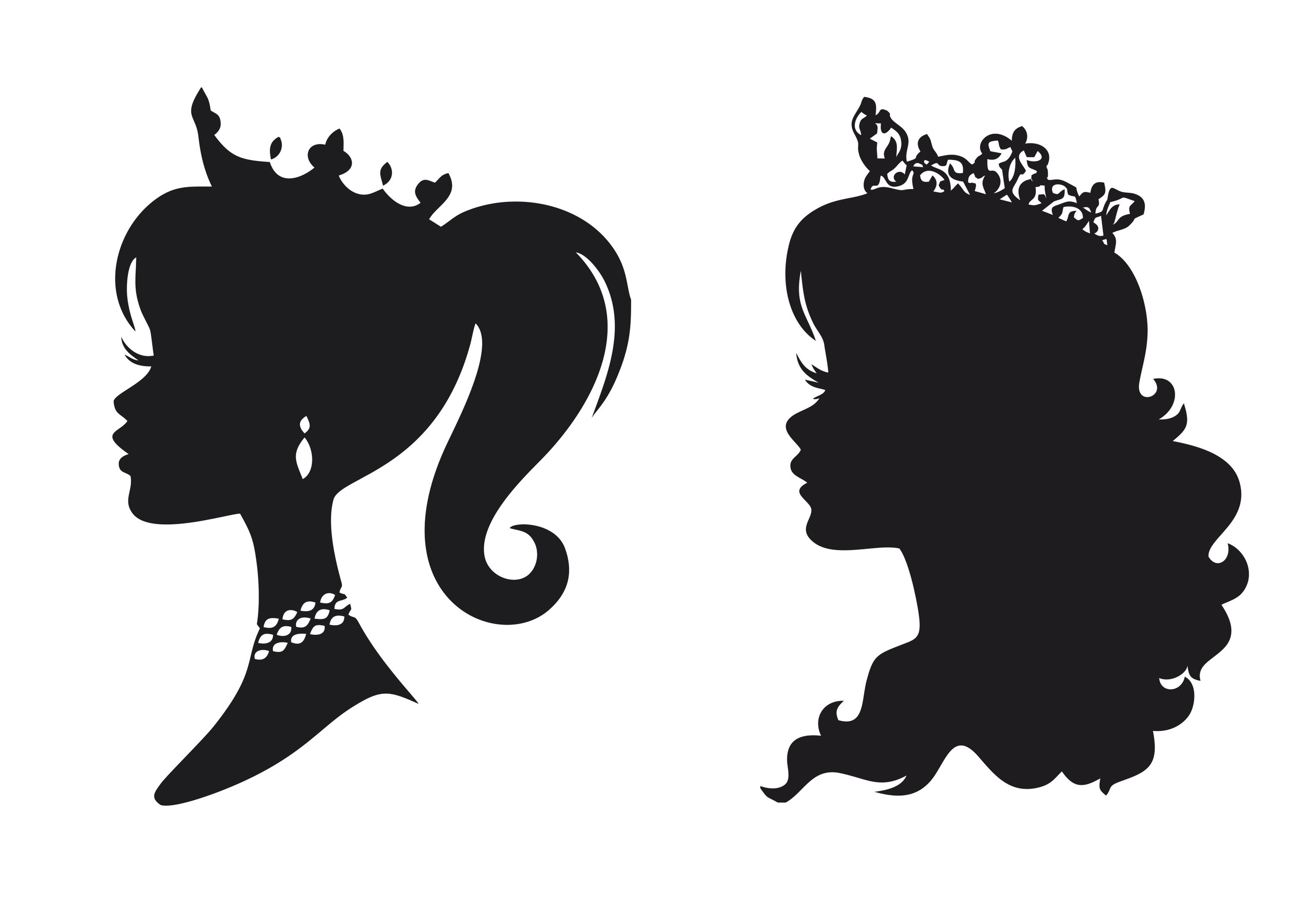 Princess Stencil Silhouettes Free Vector