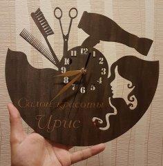 Laser Cut Wall Clock Hair Dresser Hair Stylist Free Vector