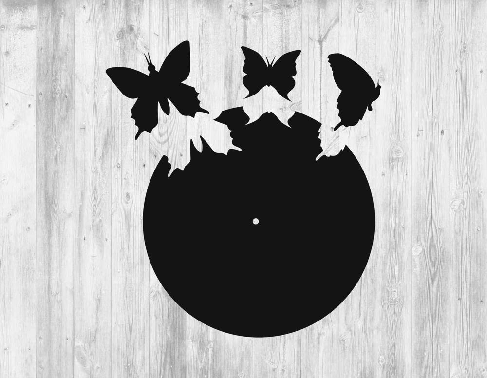 Laser Cut Wall Clock Template with Butterflies Free Vector