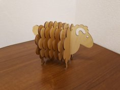 Laser Cut Lamb Coasters with Holder Free Vector