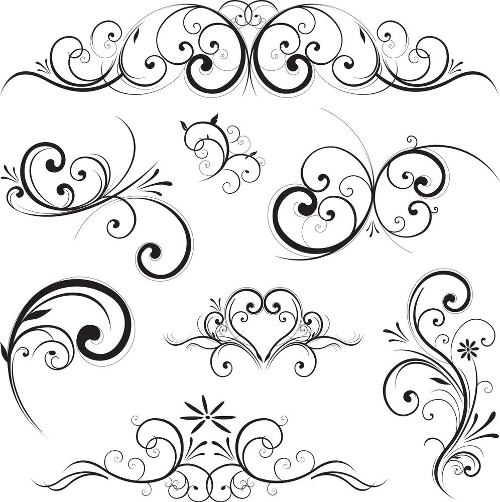 Art Swirl Vector Set Free Vector