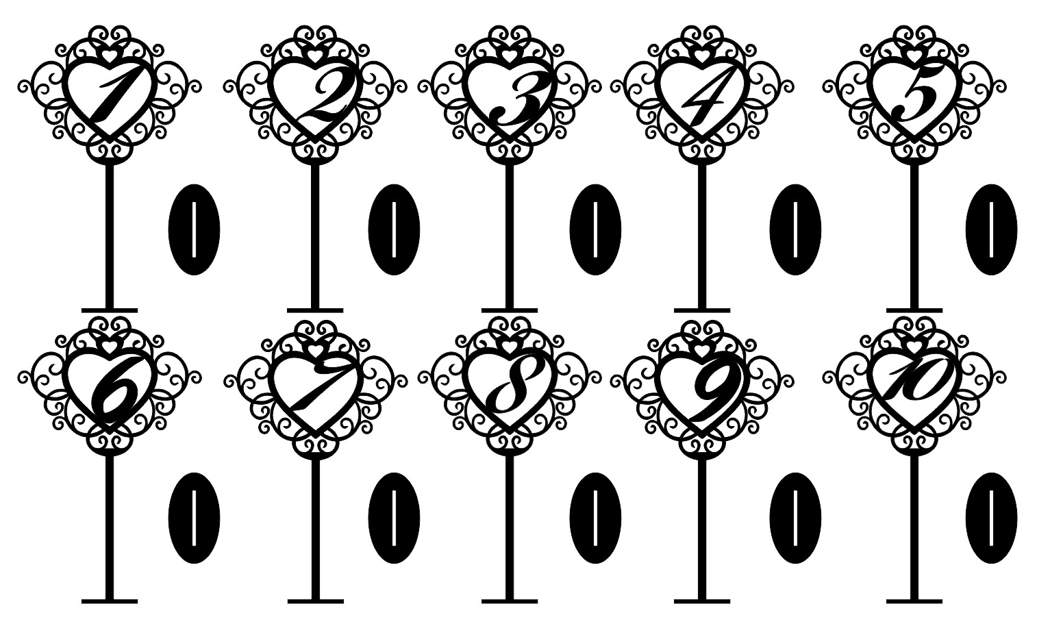 Laser Cut Freestanding Table Stand Numbers Free Vector