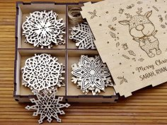 Laser Cut Snowflakes On Christmas Tree Free Vector