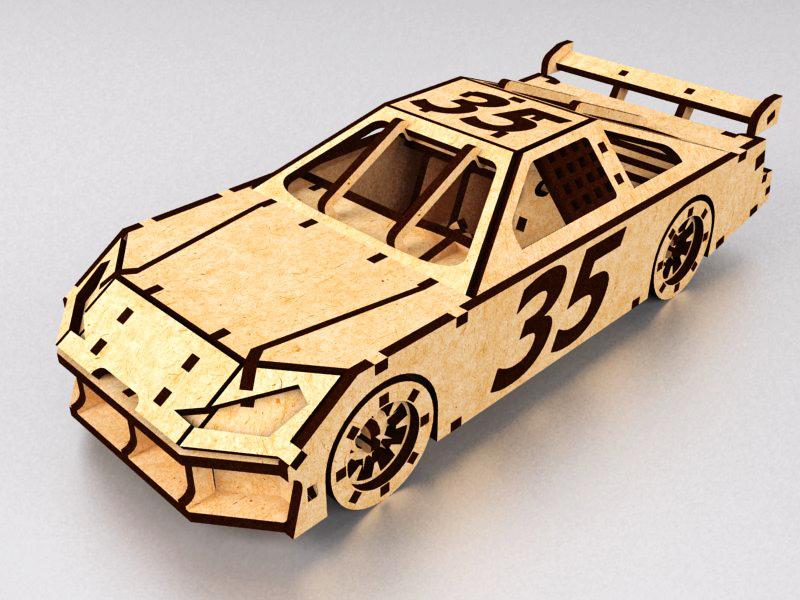 Laser Cut NASCAR Toy Race Car Model PDF File
