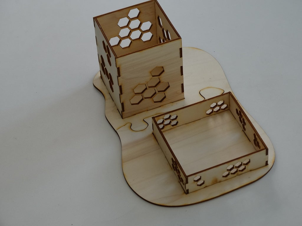 Laser Cut Desk Organizer Pencil Holder 3mm DXF File