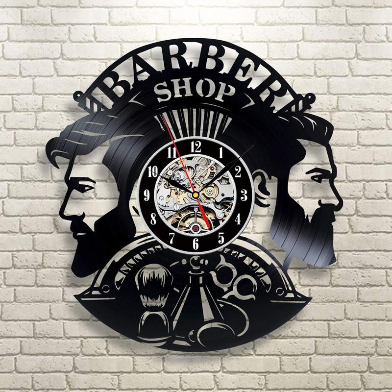 Laser Cut Barber Shop Vinyl Record Wall Clock Hairstyle Salon Wall Decor Free Vector