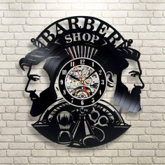 Laser Cut Barber Shop Vinyl Record Wall Clock Hairstyle Salon Wall Decor Free Vector