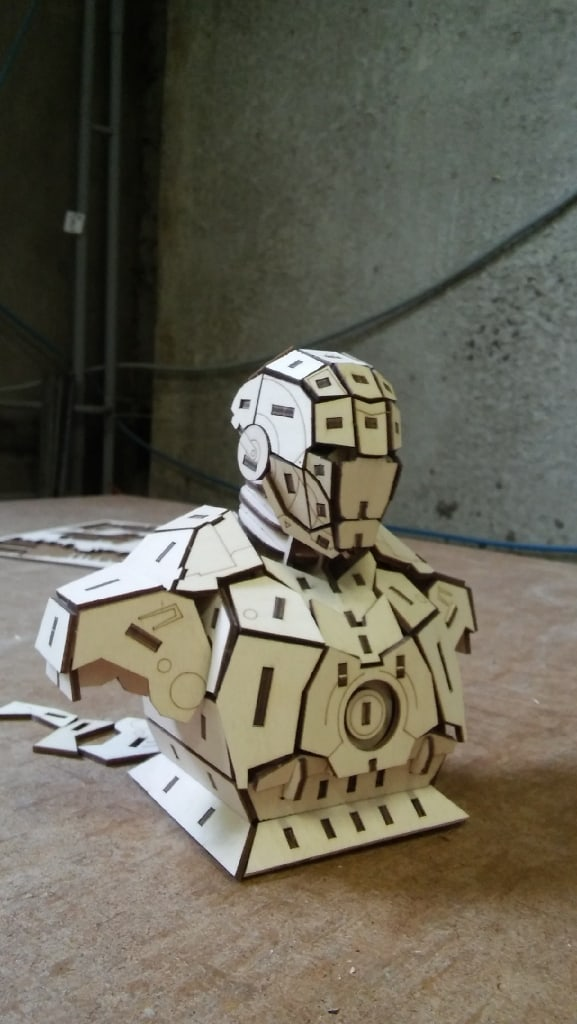 Laser Cut Iron Man 3D Wooden Puzzle Free Vector
