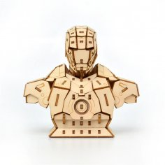 Laser Cut Iron Man 3D Wooden Puzzle Free Vector
