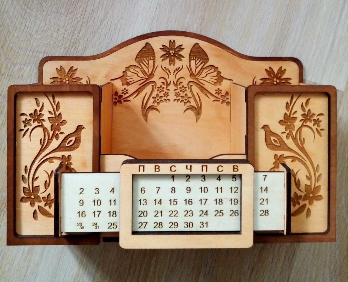 Laser Cut Desk Organizer With Calendar Free Vector