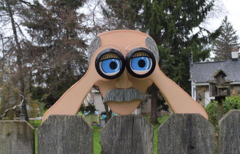Laser Cut Peekin' Pete Fence Peeker Fence Decoration Garden Yard Art Free Vector