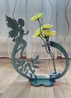 Laser Cut Fairy Flower Holder Flower Stand Free Vector